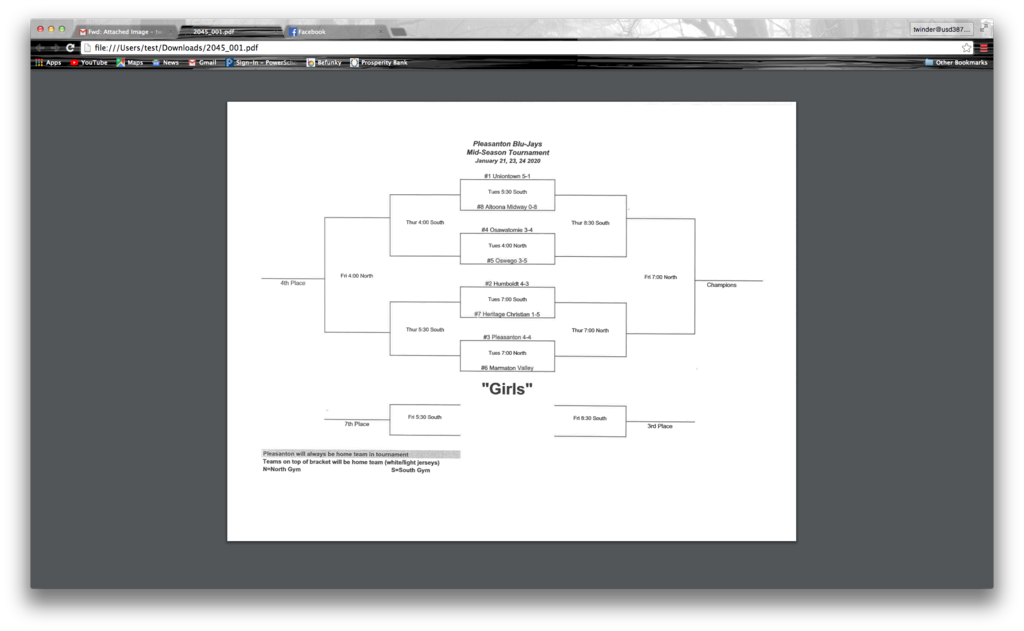 AMHS Girls BB Bracket for Pleasanton Tournament 01-21/01-24