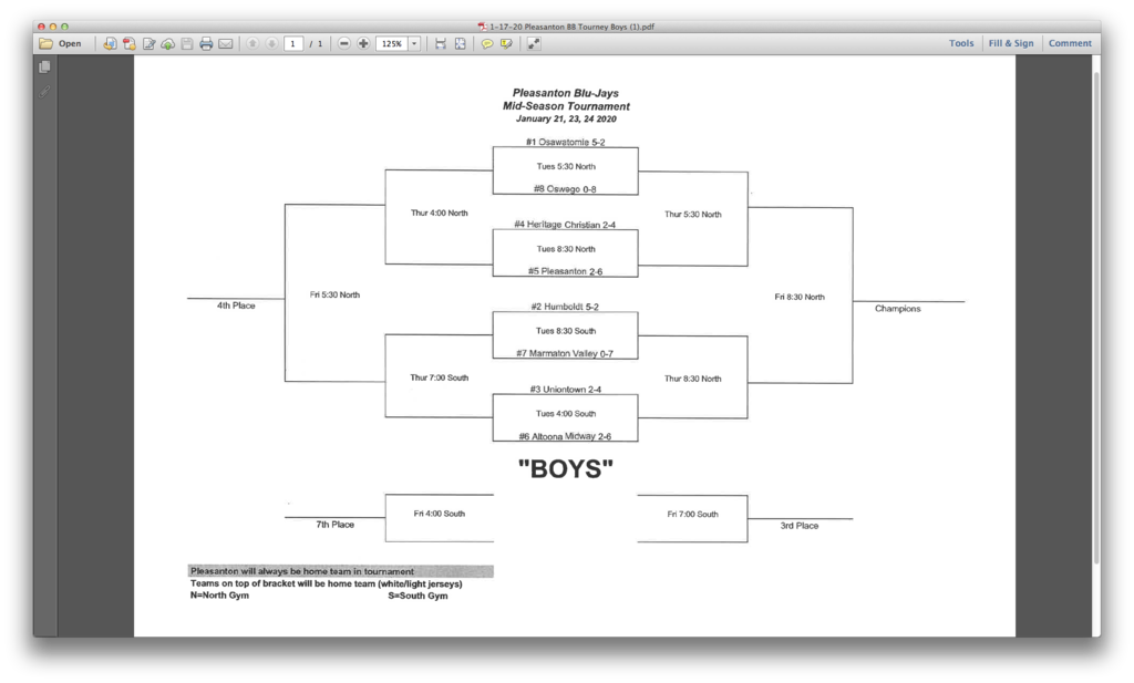 Pleasanton Boys BB Tournament 01/21/2020
