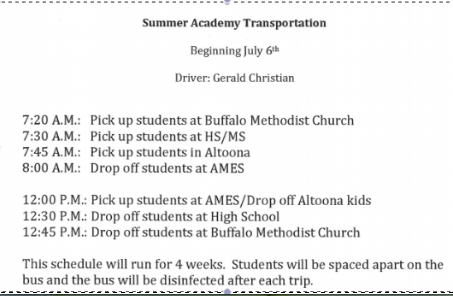 Summer Transportation Schedule